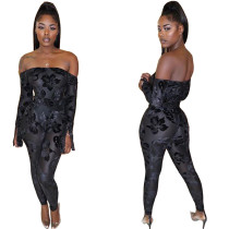 Sexy Women Boat Neck Long Sleeves Printed Bodycon Long Jumpsuit Clubwear