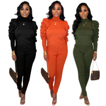Women Solid Color Long Puff Sleeves Casual Outfits 2pcs