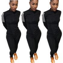 Women Long Sleeves Zipper Side Stripe Casual Sporty Jumpsuit 2pcs