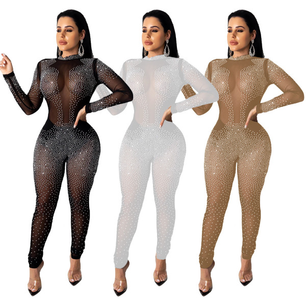 Sexy Women Long Sleeves Rhinestone Mesh Perspective Zipper Long Jumpsuit