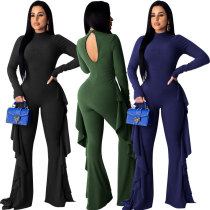 Women Solid Color Long Sleeves Open Back Ruffled Long Jumpsuit