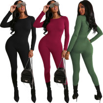 Fashion Women Solid Color Zipper Long Sleeves Bodycon Jumpsuit