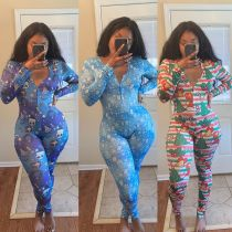 New Women Long Sleeves Buttons Christmas Printed Bodycon Jumpsuit