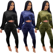 Fashion Women Long Sleeves Drawstring Solid Color Velvet Long Outfits 2pcs