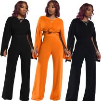 Women Long Slit Sleeves Solid Color Casual Club Wide Legs Pants Club Wear 2 Pc