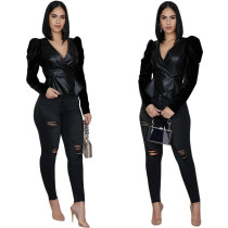 Women Black Color PU V Neck Long Sleeve Zipper Top+Skinny Pants Set