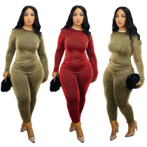 Women Long Sleeves Cute Print Bodycon Club Party Casual Pants Set Jumpsuit 2pc