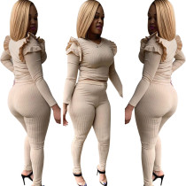Women Long Sleeves Ruffled Solid Color Rib Bodycon Jumpsuit 2pcs