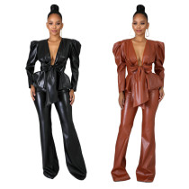 Women V Neck Long Sleeves Bandage Top+Long Boot-cut Pants Solid PU Outfits 2pcs