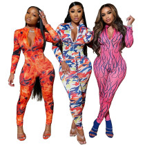 Women Sexy Long Sleeve Printed Zipper High-elastic Bodycon Jumpsuit