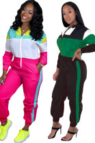 Women Hooded Long Sleeves Zipper Colors Patchwork Pockets Casual Club Jumpsuit