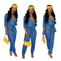 Sexy Women V Neck Long Sleeves Belted Blue Denim Long Jumpsuit