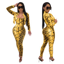 Women Sexy Printed Spaghetti Strap Long Jumpsuit+Long Sleeves Coat 2pcs