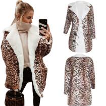 Women Tailored Neck Long Sleeves Leopard Print Winter Warm Wollen Coat