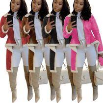 Women Long Sleeves Lamb Wool Patchwork Faux Leather Slim Asymmetrical Hem Coat