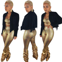 Women Long Sleeves Black Label Neck Tassels Casual Small Suit Short Coat Tops