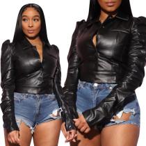 Women Long Sleeve Single Breast Faux Leather Casual Short Slim Coat Tops Jackets