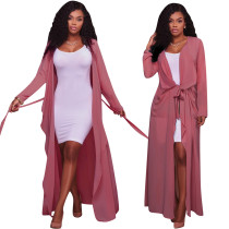 Women Long Sleeves Belted Solid Color Chiffon Long Cloak Casual Coat