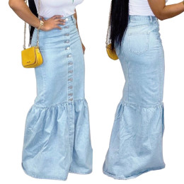 Women Fashion Single-breasted Denim Long Fishtail Skirt Casual