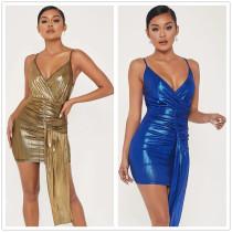 Sexy Women V Neck Spaghetti Strap Solid Irregular Bodycon Dress