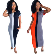 Fashion Women ColorBlock Patchwork CrewNeck Short Sleeve Bodycon Club Long Dress