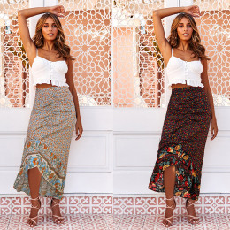 Women's Floral Print Draped Irregular Skirt Casual Vacation Wear