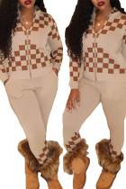 Women Long Sleeves Plaids Print Zipper Casual Long Outfits 2pcs