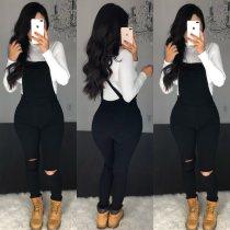 Women Black Denim Jeans Black Broken Hole Pockets Suspender Trousers Overalls