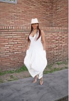 Sexy Women Halter Bandage Solid Pockets Loose Long Jumpsuit