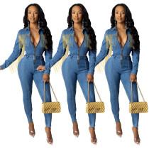 Women Turn-down Neck Long Sleeve Tassels Zipper Bodycon Denim Jumpsuit