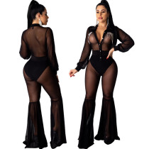 Women Long Sleeves Mesh Sheer Rhinestones Bodycon Club Party Wide Legs Jumpsuit