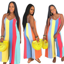 Women V Neck Spaghetti Strap Colorful Stripe Print Loose Jumpsuit