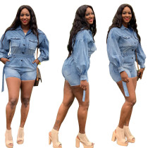 Women Long Sleeves Buttons Belted Casual Denim Short Jumpsuit S-3XL