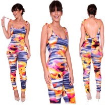 Women Sexy Spaghetti Strap Backless Printed Bodycon Jumpsuit