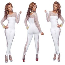 Women Solid Color Long Sleeve Mesh Patchwork Hollow Out Bodycon Jumpsuit