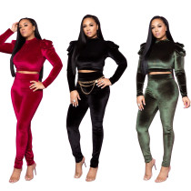 Women Long Sleeves Open Backless Solid Color Velvet Bodycon Jumpsuit 2pcs