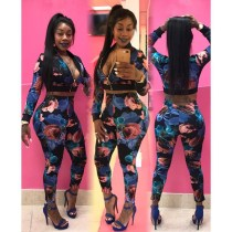 Women Long Sleeves Zipper Floral Print Tops + Bodycon Pant Casual Club Jumpsuit