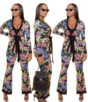 Women Long Sleeves Deep V Neck Floral Print Tops + Pants Casual Club Outfits 2pc