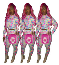 Women Long Sleeves Colorful Print Bodycon Club Party Casual Long Pants Set 2pc