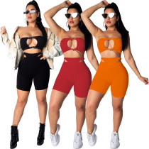 Women Sexy Strapless Crop Top Hollow Out Solid Color Short Pants Set 2pcs