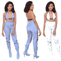 Sexy Women Halter Crop Top Reflective Long Pants Set Clubwear 2pcs