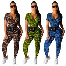 Women Short Sleeve Leopard Print Bodycon Long Pants Set 2pcs