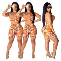 Women Sexy Sleeveless Printed Bodycon Cropped Jumpsuit 2pcs