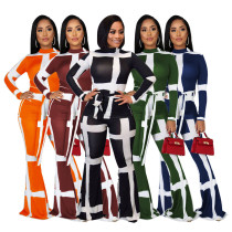 Women Long Sleeves Stripes Bandage Bodycon Club Party Bell Bottoms Pants Suit