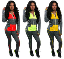 Women Hooded Long Sleeve Zipper Color Block Casual Sporty Jumpsuit 2pcs