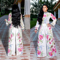 Women Long Sleeves Floral Print Tops + High Waist Wide Legs Chiffon Pants Suit