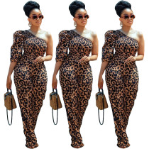 Women One Shoulder Leopard Print Smocking Stitch Casual Club Party Long Jumpsuit
