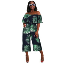 Women Printed Boat Neck Ruffled Casual Wide Legs Jumpsuit