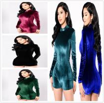 Women Long Sleeve Zipper Solid Color Velvet Short Jumpsuit