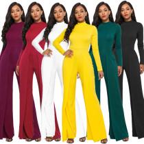Women Solid Color Long Sleeve Zipper Casual Wide Legs Jumpsuit